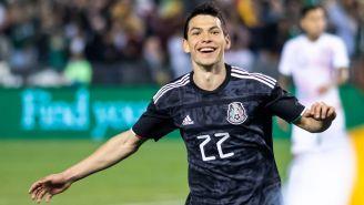 Lozano celebra su tanto contra Chile en la Fecha FIFA