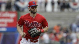 Bryce Harper durante un juego de los Philadelphia Phillies