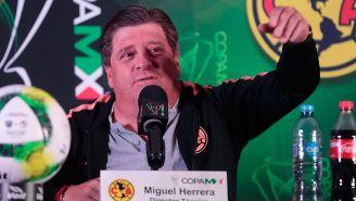 Piojo Herrera, durante la conferencia de prensa