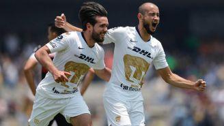 Pumas en festejo de gol ante Xolos