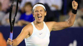 Victoria Azarenka celebra una victoria ante Angelique Kerber