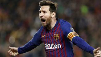 Lionel Messi festeja un gol contra el Manchester United