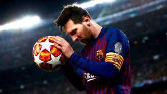 Lionel Messi durante el partido contra el Manchester United