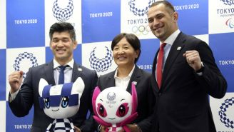 Kosei Inoue, Reika Utsugi, y el director deportivo de Tokio 2020, Koji Murofushi