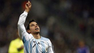 Javier Saviola en partido con Argentina