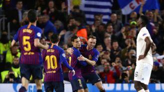 Barcelona festeja victoria contra Manchester United