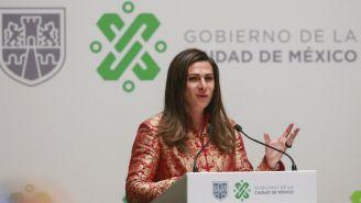 Ana Guevara durante una conferencia de prensa
