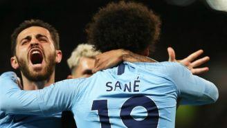 Leroy Sané celebra anotación contra el Manchester United