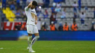 Pablo Jáquez se lamenta tras el partido contra Cruz Azul