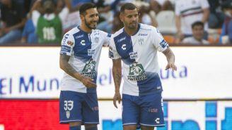 Ismael Sosa y Edwin Cardona festejan un gol