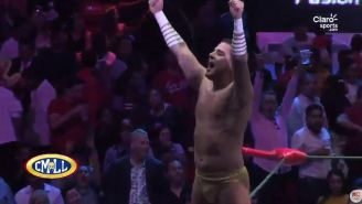 Ángel de Oro festeja su triunfo contra Mecha Wolf