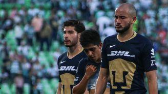 Jugadores de Pumas tras la derrota contra Santos Laguna