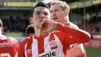 Chucky Lozano durante un juego del PSV