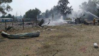 Vista de la explosión en Tultepec