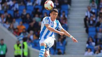 Héctor Moreno durante un juego con la Real Sociedad