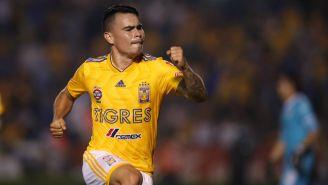 Lucas Zelarayán festeja un gol con Tigres