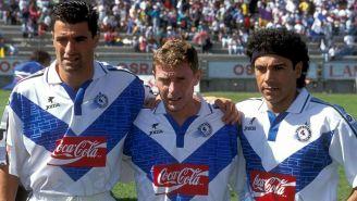 Míchel, Butrageño y Hugol, durante un juego del Celaya
