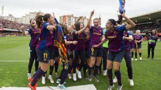 Jugadoras del Barça celebran su pase a la Final de la Champions