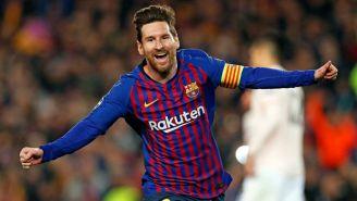 Lionel Messi festeja gol con Barcelona