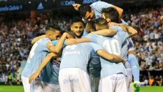 Celta de Vigo celebra una anotación frente al Barcelona