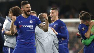 Giroud festeja un triunfo del Chelsea
