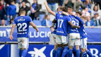 Jugadores del Real Oviedo festejando el triunfo ante Numancia