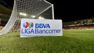 Logo de la Liga MX en la cancha del Estadio Victoria