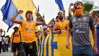 Aficionados de Tigres alientan previo a la Gran Final