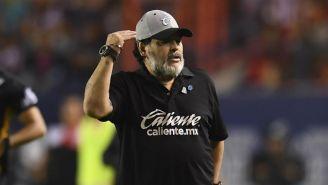 Maradona, molesto en un juego con Dorados