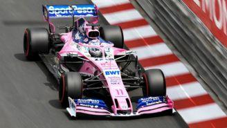 Pérez durante la sesión de entrenamiento del GP de Mónaco