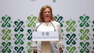 Josefa González Blanco durante una conferencia de prensa