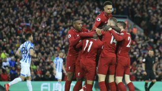 Jugadores del Liverpool en festejo de gol