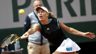 Caroline Wozniacki durante un partido frente a Veronika Kudermetova