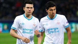 Chucky Lozano y Erick Gutiérrez en un partido con el PSV