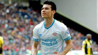 Lozano celebra gol contra el Vitesse