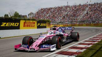 Sergio Pérez y su monoplaza en el Circuito Gilles Villeneuve