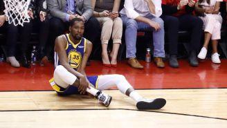Kevin Durant luego de lesionarse en el quinto juego ante Raptors