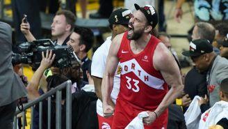 Marc Gasol festeja el triunfo de los Raptors
