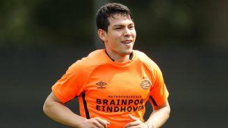 Hirving Lozano, en un entrenamiento con el PSV