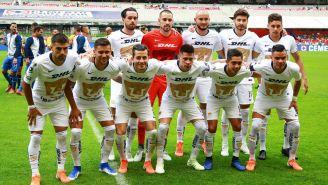 Jugadores de Pumas previo a un duelo en la Liga MX