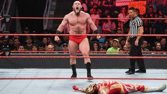 Lars Sullivan en su última lucha en WWE