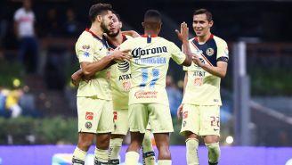 Jugadores del América festejan un gol en el Clausura 2019