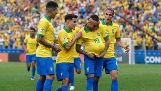 Brasil, en pleno festejo durante la goleada ante Perú