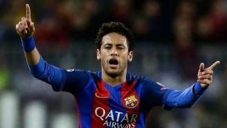Neymar en festejo de gol con el Barcelona