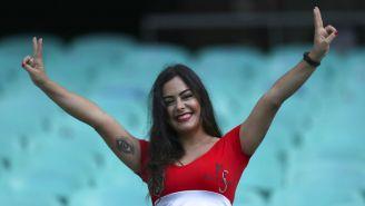 Larissa Riquelme durante un partido de Paraguay en Copa América
