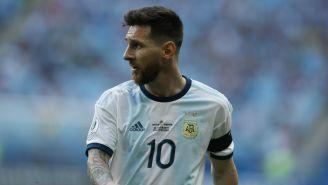Messi durante un partido con Argentina
