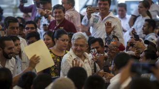 López Obrador durante una reunión con el presidente de El Salvador