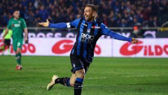 Gómez, en festejo de gol con el Atalanta