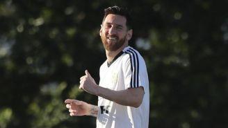 Messi, en un entrenamiento con la selección de Argentina