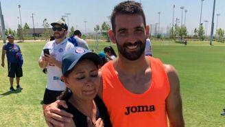 Reyna junto a Martín Cauteruccio durante una convivencia con los jugadores
